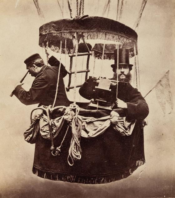 Konrad Brandel in a hot air balloon, 1865