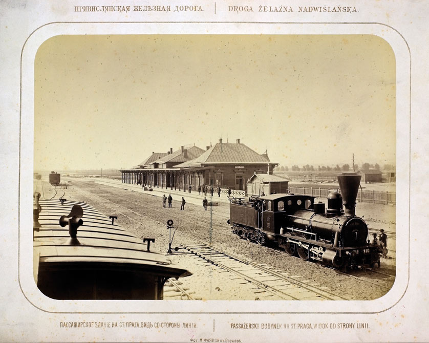 Taken in 1877 by Maksymilian Fajans the photo shows the original, wood-fashioned Praga Station that was subsequently destroyed during WWI.